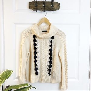 J.Crew   Ruffled Turtleneck Cream Knitted Sweater